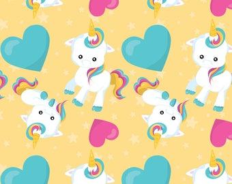 Baby Unicorn Fabric - Fairies And Unicorns 02 By Prettygrafik - Yellow Blue Pink Unicorn Magic Cotton Fabric By The Yard With Spoonflower