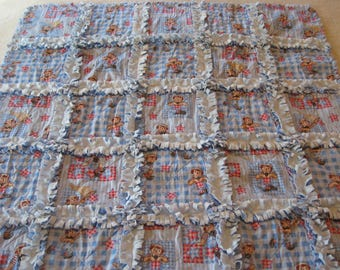Raggedy Andy Blue Minky Backing Baby Boy Rag Quilt Blanket 35x35