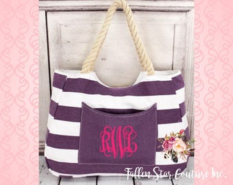 Purple Nautical Striped Front Pocket Tote with Rope Handles , bridesmaid tote bag , bridal party totes