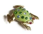 Green Lucite & Multi Color Rhinestone Frog Brooch Vintage