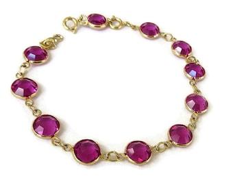 Swarovski Pink Crystals Bracelet Bezel Set Vintage