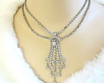 Clear Rhinestone Waterfall Necklace Vintage Dangles