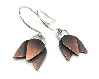 Copper Flower Earrings - Tulip Earrings - Mixed Metal Earrings - Copper Dangle Earrings - Gifts Under 50 For Her - Bridesmaid Gift Jewelry