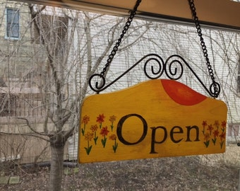 Hand Painted Open Closed Sign