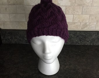 Hand Knit Woman's Cabled Hat