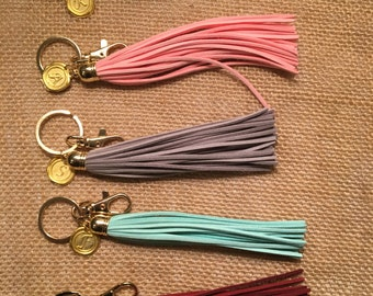 Initial Tassel and Gold Wax Stamp initial Key Chain