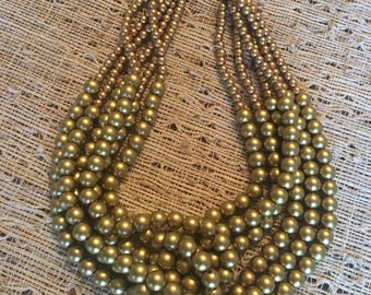 Matte gold beaded Twist necklace