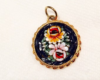 RESERVED FOR KORYE Glass Mosaic Brooch Italian Vintage Pendant Colorful Blue White Yellow Red Floral Signed