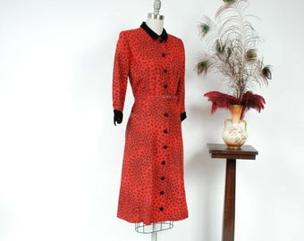 SALE - Vintage 1950s Dress - Chic Red and Black Printed Tailored Day Dress in Faille with Velvet Dress