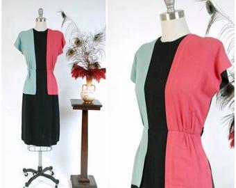 SALE - Vintage 1940s Dress -Fantastic Rayon Gabardine Color Block 40s Day Dress with Hot Pink and Aqua Blue on Black