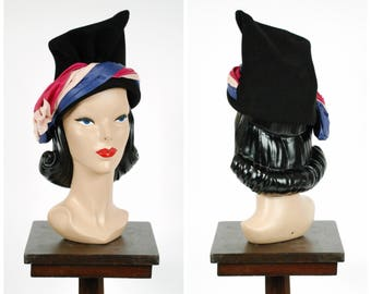 Vintage 1940s Hat - Bold Tri Tone Wrapped Satin and Felt Blocked Turban Style Hat with Giant Sash Bow by New York Creations