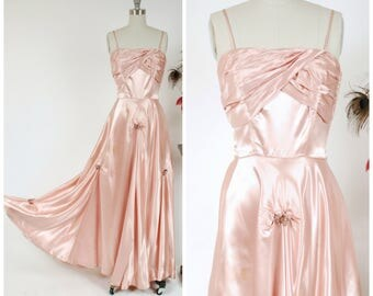 Vintage 1940s Dress - Late 40s, Early 50s Gleaming Rose Pink Satin Post War Evening Gown with Draped Skirt and Sequined Accents