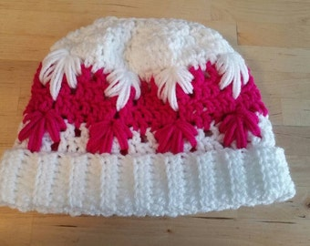 Crochet Hot Pink Snowflake Ladies/Teens Convertible  Messy Bun Hat.  Medium Size Ready To Ship.  Custom Orders Available Any Size and Color.