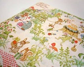 Vintage 1976 Birthday Wrapping Paper   Woodland Animals Gift Wrap   White Wrapping Paper