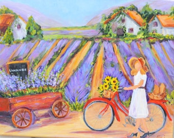 French Girl on  Red Bicycle