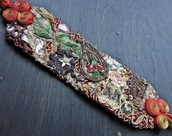 "Textile wrist cuff bracelet with antique fabric trims- ""Tattered Hopes"""