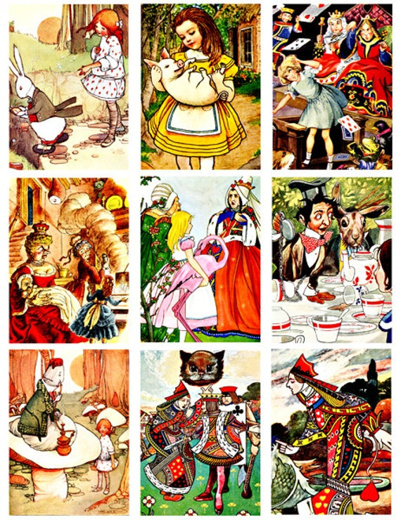 Alice In Wonderland Vintage 1900s art illustrations digital download collage sheet digital images graphics art tags cards scrapbooking