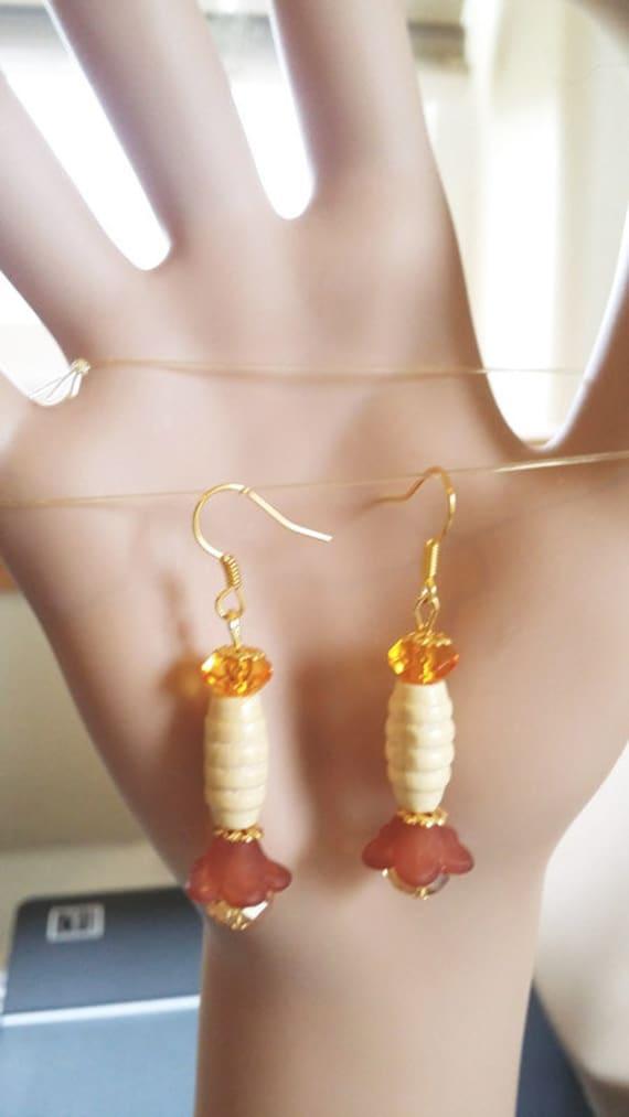 amber flower drop earrings long dangle earrings wood glass bead handmade beaded jewelry pendulum earrings