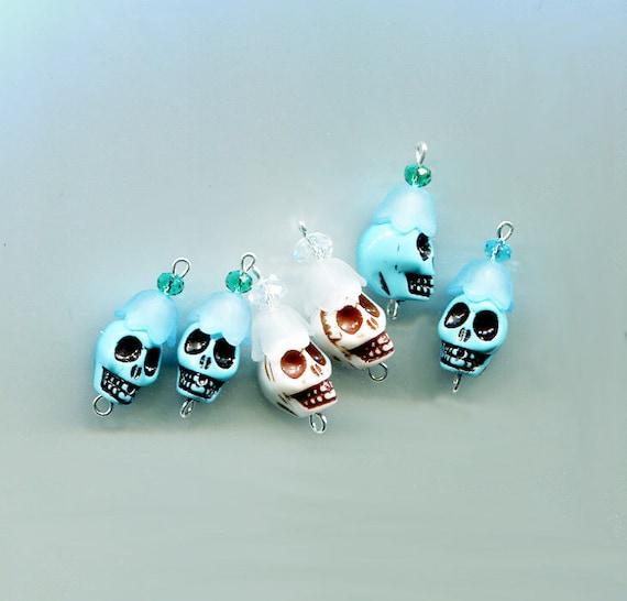 day of the dead sugar skull beads skull flower charms skull bead drop skull charms skull pendants plastic 25mm 6 pc blue white skull beads