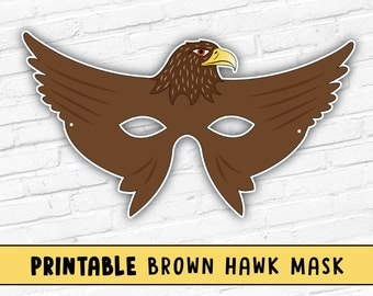 Hawk Mask | Kids Party Mask | Halloween Mask | Brown Bird Mask | Falcon Mask