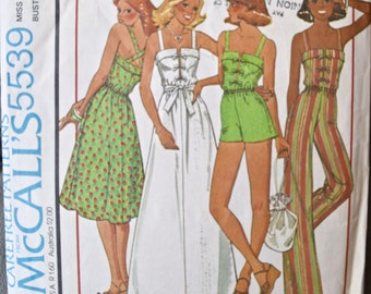 1970's McCall's 5539 Vintage Sewing Pattern Maxi Dress and Jumpsuit with Shorter Length Options Bow Front and Tie Belt Size 8 Bust 31.5