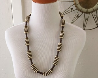 Vintage 60s 70s Beaded Necklace Tiki Style Chocolate and Cream Disc Beads