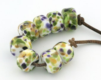 Meadow Drops Handmade Glass Lampwork Beads (8 Count) by Pink Beach Studios - SRA (2291)