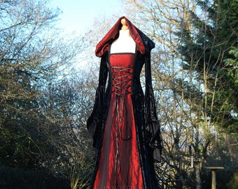 Medieval Gothic inspired Hooded Dress Custom made in sizes S-XXL & choice of colours