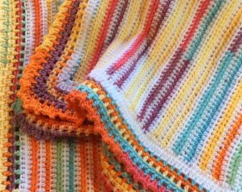 Beachy stripe Baby Blanket, Crochet baby afghan