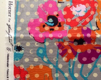 SALE. 20 X 22 INS   quilting cotton Anna Maria Horner Field Study Raindrops and poppieis in grey