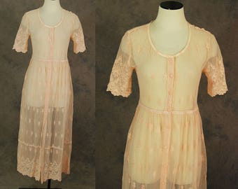 CLEARANCE SALE vintage 90s Lace Dress - Pink Sheer Mesh Lace Dress - Embroidered Mesh Maxi Dress Lace Duster Sz S M