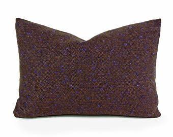 Rustic Decorative Pillows, Wool Throw Pillows, Brown Tweed Pillow Cover, Brown Black Blue Textured Flecks, Mens Rustic Pillows, 14x20 16, 20