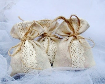 Set of 30 linen Wedding Favor Bags, Rustic Gift Bags, Candy Bags