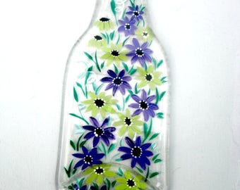 Spoon Rest, Kitchen Trivet,  Melted Clear Beer Bottle,  Hand Painted Lime Green and Purple Flowers,  Candle Holder
