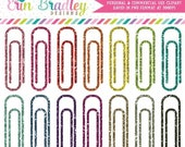 70% OFF SALE Glitter Paperclips Clipart School Clip Art Office Supply or Work Graphics in Glittery Colors Personal & Commercial Use