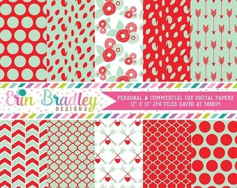 50% OFF SALE Mint and Red Digital Paper Pack with Flowers Polka Dots and Arrow Patterns Valentines Day Digital Papers