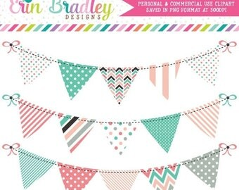 50% OFF SALE Digital Clipart Banners Commercial Use Bunting Graphics with Polka Dots Stripes & Chevron Patterns