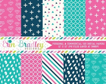 50% OFF SALE Digital Paper Pack in Pink Navy and Blue Diamond Cross Triangle Spotty Dot Patterns