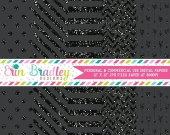50% OFF SALE Black Glitter Digital Paper Pack Stripes Polka Dots Arrows and Chevron Glitter Digital Scrapbook Paper