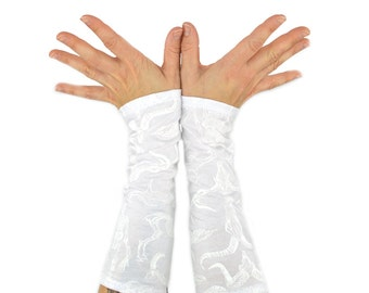 Arm Warmers - Show Me Your Bones - Long Cuffs - White Skeletons