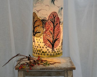 Decorative Table Light/ Lamp /Hand Printed Trees & Fields