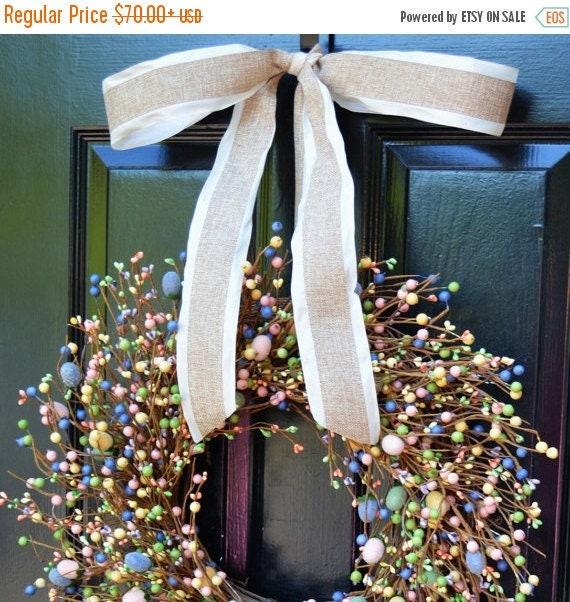 SPRING WREATH SALE Easter Wreath- Pastel Door Wreath- Easter Decor- Easter Egg Decor- Easter Decoration- Berry Wreath- Easter Berry Wreath-