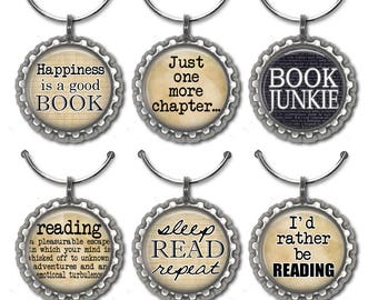 Wine Charms, Book Lover, Book Fan, Book Quotes, Books, Wine, Wine Tags, Book Club Favors, Gifts for Book Lovers, Napkin Rings