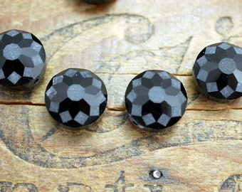 Cut Crystal Beads Black with Pattern Fancy Cut Beads (4)