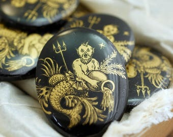 Vintage Glass Cabochon Merman Poseidon Cabochon 30x40mm Black and Gold  (1)