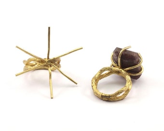 Claw Ring Settings, 2 Raw Brass Ring Blanks With 6 Claw For Natural Stones N116