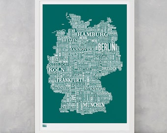 Germany Type Map Screen Print, Germany Font Map, Germany Text Map, Germany Word Map, Germany Map Print, Germany Artwork, Germany Wall Art