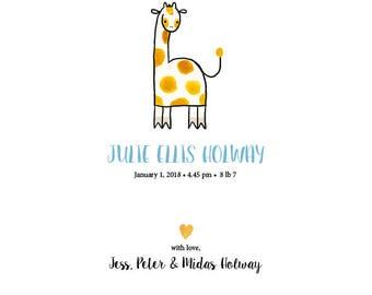 Giraffe family, cute printable custom baby announcement