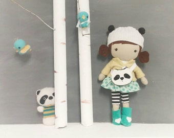 "Handcrafted STUDIO DOLL 15"" - Girl in the Panda Hat. Handmade, Doll, Girl, Toy, Plush, Children, Gift, Panda"