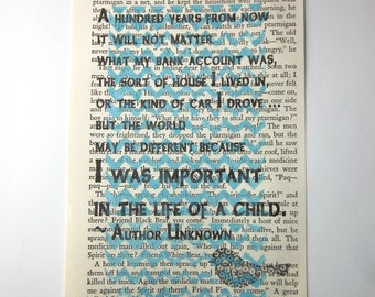 I was important in the life of a child, teacher gift, babysitter gift, childcare provider gift
